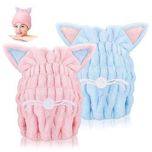 Achort Paquete de 2 toallas de secado rápido para el cabello, toallas de pelo súper absorbentes con orejas de gatito para secar rápidamente el cabello para mujeres, niños y niñas (azul y rosa)