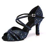 JUODVMP Zapatos de Baile Latino con Brillo para Mujer Sandalias de Baile de Salsa para Fiestas de salón de Baile,Azul,8.5cm-38EU
