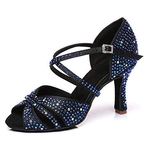 JUODVMP Zapatos de Baile Latino con Brillo para Mujer Sandalias de Baile...