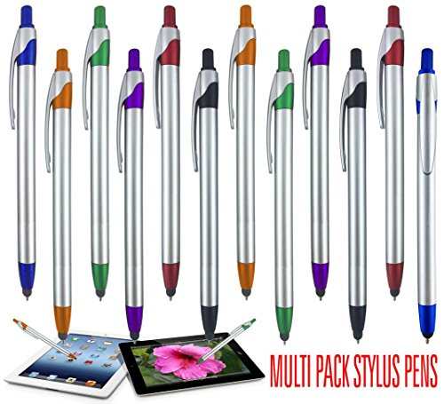 Stylus for Touch Screens Pen with Ball Point Pen,for Universal Touch Screen Devices, for Phones, Ipads,Tablets, iPhone, Samsung Galaxy etc. Assorted Colors (Metallic 12 Pack)