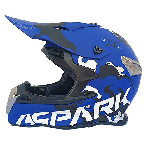 MRDEAR Casco Motocross Azul, Adulto Cross Casco MTB Integral Hombre para Off-Road Enduro Scooter Racing Motocicleta Quad Downhill Protecciones Moto...