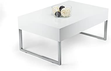 Mobili Fiver, Table Basse, Evo XL, Blanc Brillant, 90 x 60 x 40 cm, Mélaminé/Fer Chromé, Made in Italy