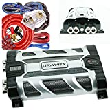 Gravity GR-10.0 Car Audio Mobile Battery Stiffening Portable Power 10.0 Farad Capacitor and Completed 5000 Watts Amplifier Installation Wiring kit 0 Gauge BGC0XLR Red