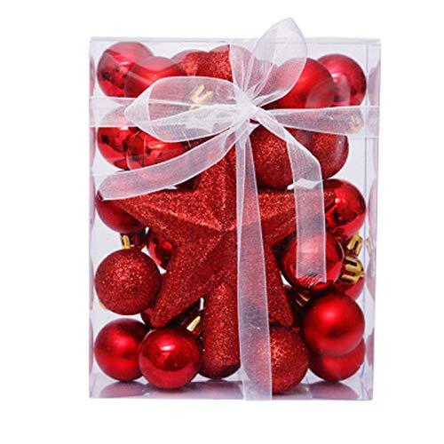QXMAOYI Christmas Ball Ornaments 30mm/1.18' Christmas Ball Ornaments Shatterproof Christmas Decorations Tree Balls for Xmas Holiday Wedding Party Decoration (30 pcs, Red) 2 Boxes