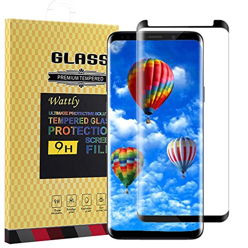 Jufay Galaxy S9 Plus Screen Protector,Galaxy S9 Plus Tempered Glass,Wattly [3D Curved Edge][Case Friendly][HD Clear] Tempered Glass Screen Protector for Samsung Galaxy S9 Plus-Black