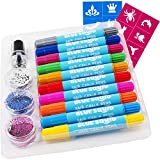 Hair Chalk for Girls Pens – & Glitter Tattoo Set, 10 Temporary Hair Color Pens for Kids, 16 Stencils, 3 Glitters &...