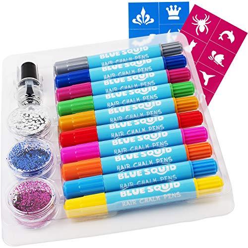 Hair Chalk Stifte für Mädchen - und Glitzer Tattoo Set, 10 Temporäre Haarfärbestifte fürKinder, 20 Schablonen, 3 Glitzer- und Klebestifte, Lebendige Auswaschbare Haarfärbestifte, Haarzubehör