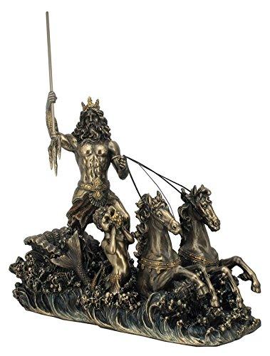 Unbekannt Griechischer Gott Poseidon auf Seepferd-Kutsche Figur bronziert Skulptur Pferd