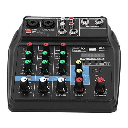Lantuqib Mezclador de 4 Canales, Mezclador estéreo de Escenario, Sistema de Consola mezcladora para Reproductores MP3 para recepción Bluetooth(Enchufe de la UE)