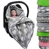 BAMBINIWELT Einschlagdecke, Decke für Babyschale, 3 und 5 Punkt-Gurt-System (grau-grau Eulen)