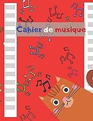 Cahier de musique: Cahier de partitions - cahier tête de chat pour enfants 13 portées par page - 100 pages