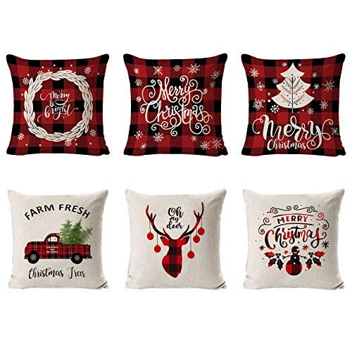 6 Piezas Fundas Navideñas para Cojines,Fundas Cojin Serie De Navidad,Almohada de Navidad Covers,Algodón Lino Throw Pillow Case Funda de Almohada,Funda de cojín de Navidad,45cm x 45cm (White red)