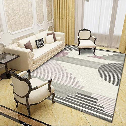 La Alfombra moqueta Alfombra Suave con diseño geométrico Crema Gris Negro fácil de Limpiar alfombras de habitacion Infantil alfombras Lavables 80*150CM