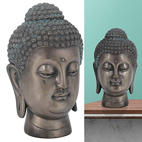 Nunafey Meditating Buddha Head,Resin Buddha Head Statue Asian Zen Outdoor Statue Buddhist Supplies Home Tabletop Living Room Decor Office Feng Shui Decor