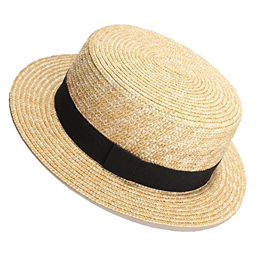 Damen Strohhut Sommerreisen Fedora Sonnenhut Mode Flacher Hut top Unisex Einstellbare Größe (Color : Beige-A, Size : One Size)
