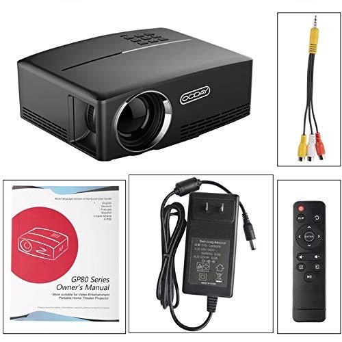 OCDAY Full HD 1080P LCD-Miniprojektor 1800 LM Tragbarer Multimedia-Heimkino-Theater-Video-Film-Entertainment gp80 (Schwarz)