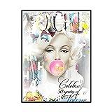 Vogue Marilyn Monroe Poster Marilyn Monroe Golpe Burbujas Globo Graffiti Lienzo Pared Pintura Salon Inicio Marilyn Monroe Cuadro Decoracion 40x60cmx1 No Marco