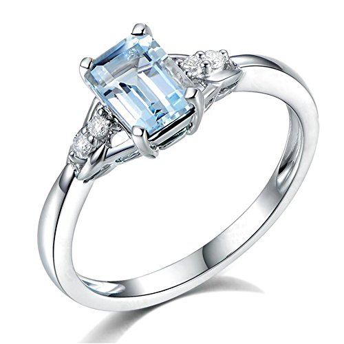 Auténtico Naturales Sea Azul Aguamarina Piedra preciosa Diamante Sólido 14K Oro blanco Boda Compromiso Promesa Anillo para Mujer