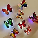 DIoFent 14 PCS Adesivo Giocattolo Decorazione Murale LED Farfalle di Notte per Il Festival di Festa di Compleanno di Nozze 5,7 Centimetri * 6,7 Centimetri Multi Color
