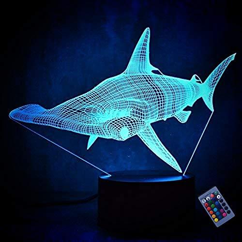 Luz de noche pequeña 3D Shark 7 Cambio de color USB Interruptor táctil Lámpara de mesa LED Cumpleaños Niños Regalo de Navidad Lámpara de mesa