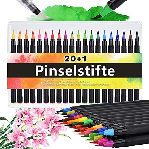 DealKits Pinselstifte Set, 20+1 Brush Pen Set [ 20 Aquarellstife +1 Wassertankpinsel ], Wasserfarben Pinselstifte Aquarell Pinsel Marker Set, für Bullet Journal Kalligraphie Handlettering Malen