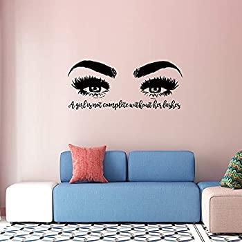 YOKIKI Beauty Salon Wall Sticker Lash Eyes Pretty Girls Room Living Room Decorations for Makeup Room Decorations Home Wallpaper Vinyl Mural Art Decals