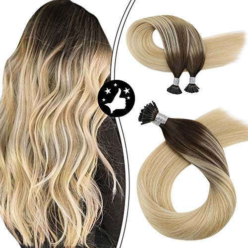 Moresoo Pre Bonded Rajout Cheveux Keratine I Tip Extensions 20 Pouces #2 Brun Foncé à #613 Bleach Blond Highlighted avec #27 Blonde Stick Tip Hair Ext