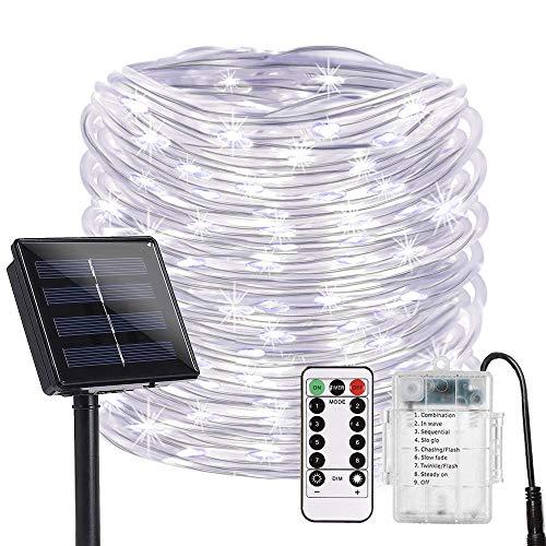 DINOWIN Led-slinger op zonne-energie, 100 leds, vervangbaar, dimbaar, batterij, waterdicht, lichtsnoer voor buiten, tuin, terras, huis, kerstfeest