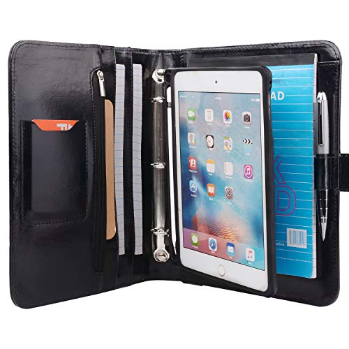 XIAOZHI Leather Binder Portfolio with Removable Tablet Holder, Organizer Padfolio Case with 3-Ring Binder for iPad Mini 5/Mini 4, Black, 9.8x9.8x7.3 in. (1903Q-IPM-BK)