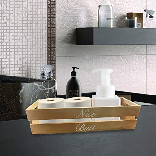 Odowalker Nice Butt Badezimmer-Schilder Dekor bemalte Holzbox Taschentuchhalter Bauernhaus rustikale Holzkiste Toilettenpapierhalter Lustiges Wohnaccessoire