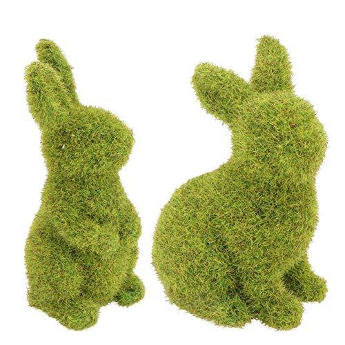 UPKOCH 2 figuras decorativas de conejos de Pascua, musgo, animales, mini conejos, sentados, decoración de Pascua, para jardín, casa, oficina, fiesta, regalo de Pascua