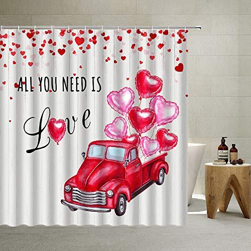 Duschvorhang-Set mit romantischen rosa & roten Herzen, Luftballons, für Liebhaber, Polyester-Stoff, schlicht, weiß, Duschvorhänge mit Haken, 178 x 178 cm
