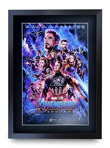 HWC Trading Avengers Endgame A3 Enmarcado Regalo De Visualización De Fotos De Impresión De Imagen Impresa Autógrafo Firmado Por Marvel Captain America Ironman Thor Los Aficionados Al Cine
