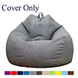 WAQIA Stuffed Animal Storage Bean Bag Chair Cover (No Filler) - Stuffable Zipper Beanbag Cover-100% Premium Cotton Linen - Memory Foam Beanbag Replacement Cover for Adults and Kids Without Filling