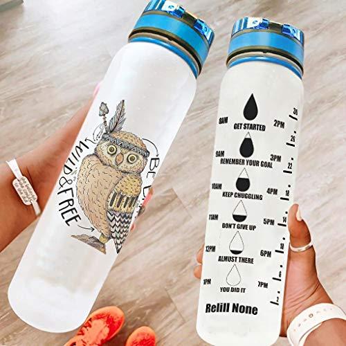 Knowikonwn Botellas de agua Motivational Owl a prueba de fugas – Botella de agua deportiva adecuada para fitness, gimnasio, deportes al aire libre, color blanco, 1000 ml