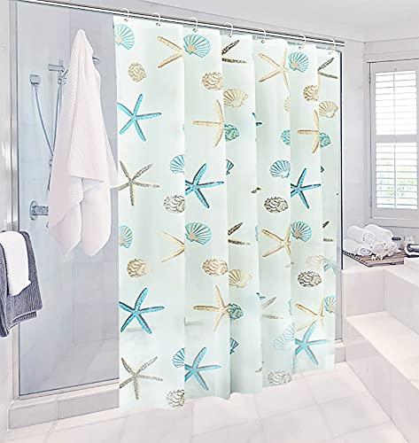 Miystn Cortinas de Baño Antimoho, Shower Curtain, Cortina Ducha 180x200, PEVA Prueba de Moho Impermeable al Baño, Antimoho, Antibacteriano, con 13 Ganchos (1 Pieza, 180 x 200 cm)