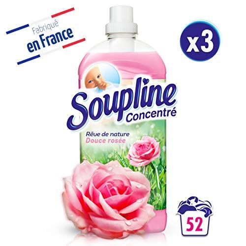 Soupline Concentré Rêve de nature, Douce rosée 1,3L- Lot de 3- Adoucissant/Assouplissant, en complément de votre lessive