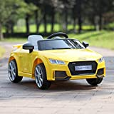 TOBBI Kids Ride On Audi TT RS Licensed Toys Racing Car Remote Control Music Mp3 Play AUX, Yellow