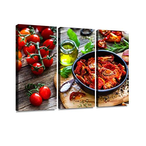 BELISIIS Sun Dried Tomatoes Herbs and Spices for Cooking on Dark Background Wall Artwork Exclusive Photography Vintage Paintings Print on Canvas Home Decor Wall Art 3 Panels Framed Ready to Hang