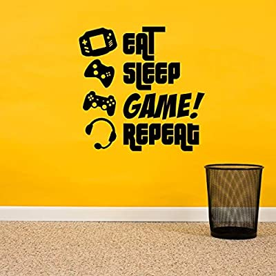 EAT, SLEEP, GAME, REPEAT - Gamers Wall Art Vinyl Decal - Video Gamers Cool Wall Decor- Decoration Vinyl Sticker - Teen Boys Room Decor - Boys Bedroom Wall Decoration