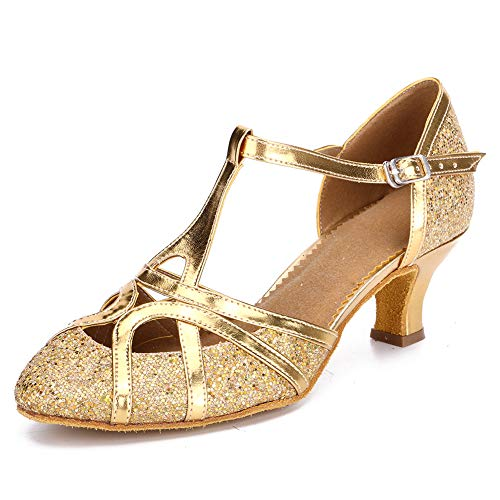 HROYL Women's Ballroom Dance Shoes Closed Toe Latin Salsa Practice Performence Party Dancing Shoes Model-Z-511 Gold 7.5 B(M) US