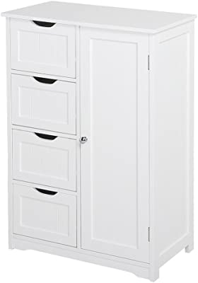 Topeakmart Free Standing Cabinet Wooden Bathroom Cabinet Storage Cabinets Four Drawers & Cupboard for Bathroom and Kitchen