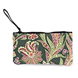 Sconosciuto Portafoglio in tela con fiori e foglie in stile arabo, squisito portamonete, piccolo portamonete in tela viene utilizzato per contenere il cambio di monete, ID e altro.
