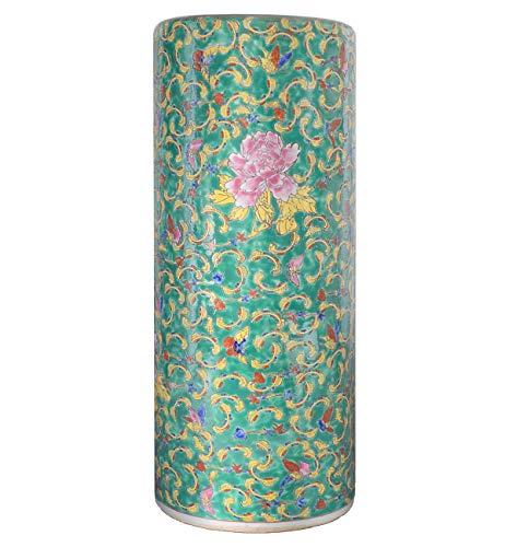 tea4chill Schirmständer/Regenschirmständer/Schirmhalter/Ständer 56cm aus Keramik in grün