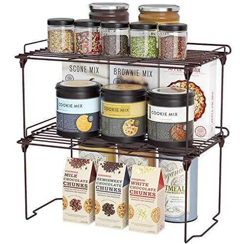 HapiRm Organizer Cucina impilabile, Ripiano salvaspazio Cucina con guardrails Design, Mensole Cucina Ideale per stoviglie e Alimenti, Bronzo, 2 Pezzi