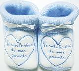 Chaussons bébé brodés 'Je suis le rêve de mes parents' bleu/blanc 0/3mois