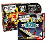 Escape Room Das Spiel - Set de ampliación: Panic on the Titanic + Dawn of The Zombies + 2 pegatinas de salida