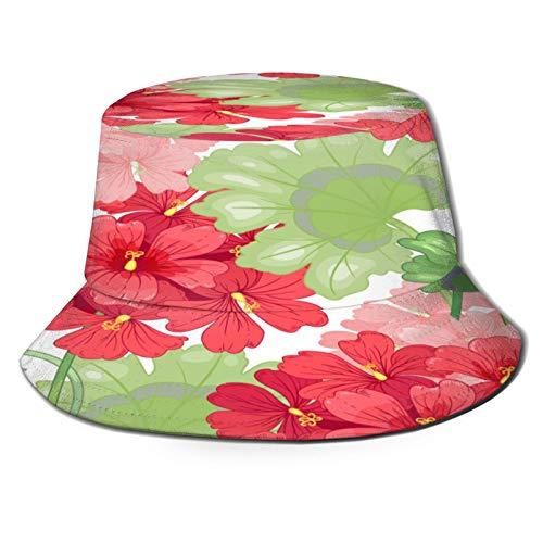 PUIO Cappello da Pesca,Modello Senza Cuciture dei Fiori del Geranio del Fondo Bianco,per Cappello da Sole da Viaggio Canottaggi