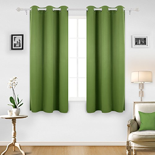 Deconovo Room Darkening Thermal Insulated Blackout Grommet Window Curtain Panel for Living Room, Green,42x63-Inch,1 Panel