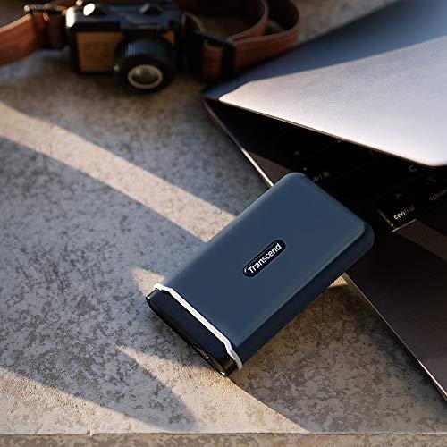 Transcend TS1TESD370C Ultra-Highspeed 1TB Portable, leichte, Externe SSD (≠HDD) USB Typ-C/A, Übertragung (bis 1050/950 MB/s) Speichererweiterung für Desktop-PCs, Laptops, Notebooks, PS4, Xbox blau